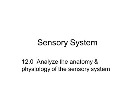 Sensory System 12.0 Analyze the anatomy & physiology of the sensory system.