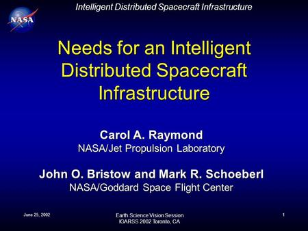 Intelligent Distributed Spacecraft Infrastructure Earth Science Vision Session IGARSS 2002 Toronto, CA June 25, 20021 Needs for an Intelligent Distributed.