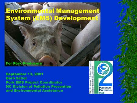 Environmental Management System (EMS) Development For Pork Producers September 13, 2001 Barb Satler Pork EMS Project Coordinator NC Division of Pollution.