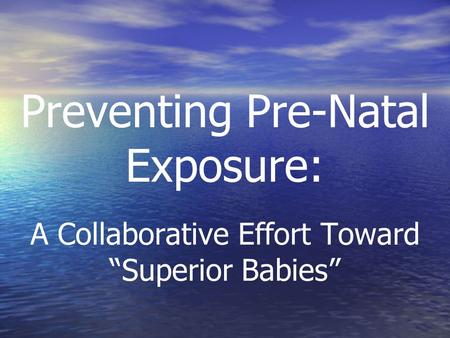 "Preventing Pre-Natal Exposure: A Collaborative Effort Toward ""Superior Babies"""