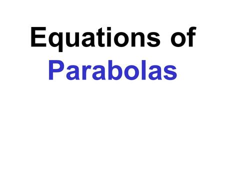 Equations of Parabolas. A parabola is a set of points in a plane that are equidistant from a fixed line, the directrix, and a fixed point, the focus.