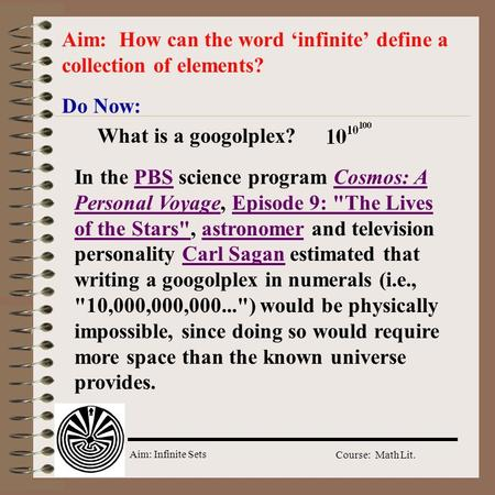 Aim: How can the word 'infinite' define a collection of elements?