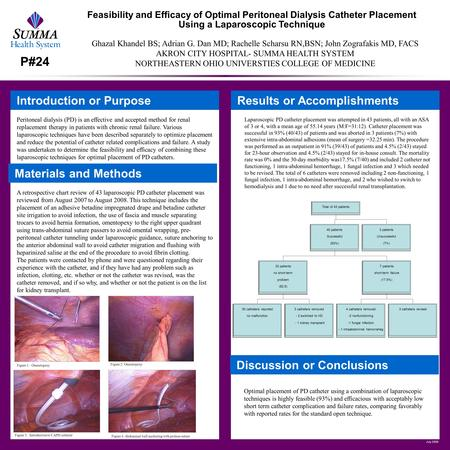 July 2009 Feasibility and Efficacy of Optimal Peritoneal Dialysis Catheter Placement Using a Laparoscopic Technique Introduction or Purpose Peritoneal.