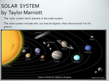 The solar system has 8 planets in the solar system. The solar system includes the sun and all objects that orbit around it to its gravity. SOLAR SYSTEM.