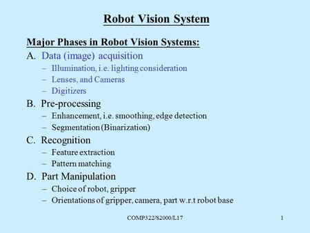 COMP322/S2000/L171 Robot Vision System Major Phases in Robot Vision Systems: A. Data (image) acquisition –Illumination, i.e. lighting consideration –Lenses,