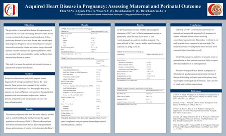 TEMPLATE DESIGN © 2008 www.PosterPresentations.com Acquired Heart Disease in Pregnancy: Assessing Maternal and Perinatal Outcome Eliza M.N (1), Quek Y.S.