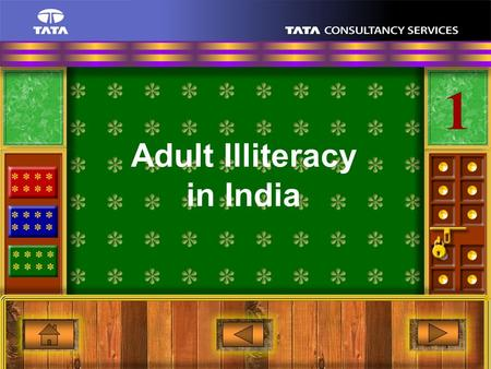 1 1 Adult Illiteracy in India 2 1 Observations Adult illiteracy levels in India are at 30 to 40% of the adult population.