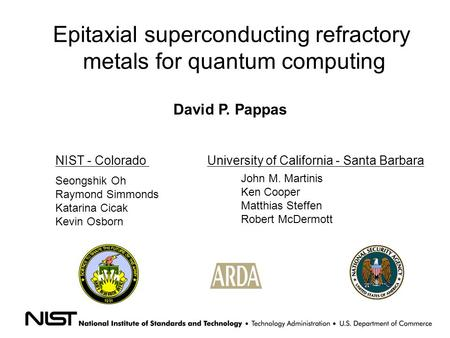 Epitaxial superconducting refractory metals for quantum computing