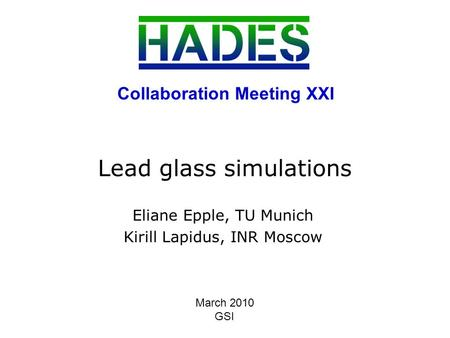 1 Lead glass simulations Eliane Epple, TU Munich Kirill Lapidus, INR Moscow Collaboration Meeting XXI March 2010 GSI.