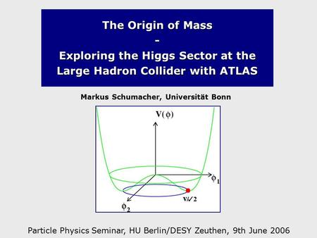 The Origin of Mass - Exploring the Higgs Sector at the Large Hadron Collider with ATLAS Markus Schumacher, Universität Bonn Particle Physics Seminar, HU.