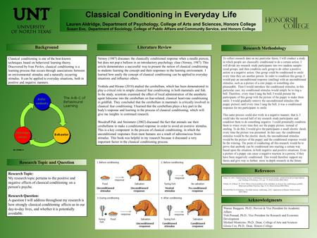 Classical Conditioning in Everyday Life Lauren Aldridge, Department of Psychology, College of Arts and Sciences, Honors College Susan Eve, Department of.