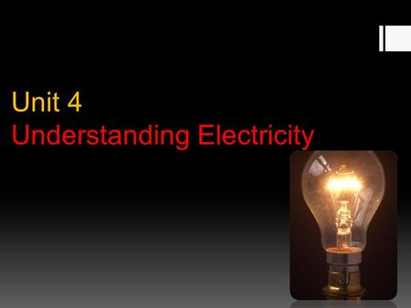 Unit 4 Unit 4 Understanding Electricity. Topic 1 – Electric Charges.