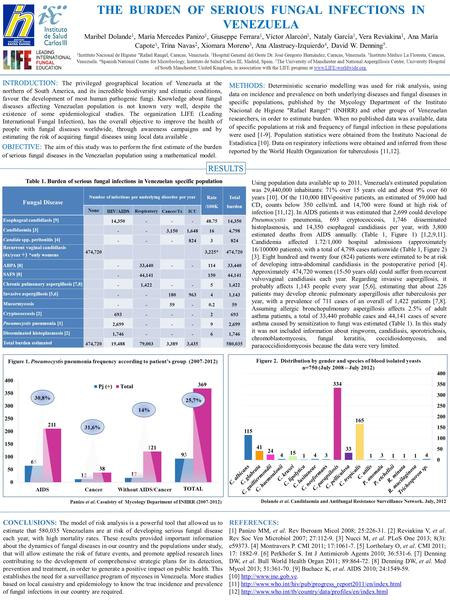 THE BURDEN OF SERIOUS FUNGAL INFECTIONS IN VENEZUELA Maribel Dolande 1, María Mercedes Panizo 1, Giuseppe Ferrara 1, Víctor Alarcón 1, Nataly García 1,