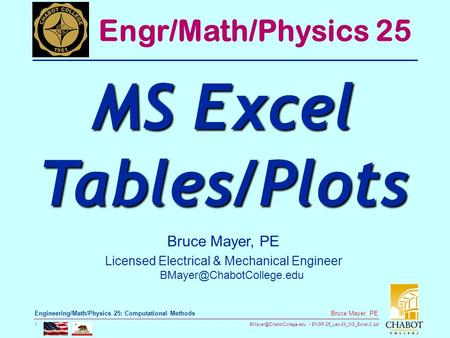 ENGR-25_Lec-29_MS_Excel-2.ppt 1 Bruce Mayer, PE Engineering/Math/Physics 25: Computational Methods Bruce Mayer, PE Licensed Electrical.