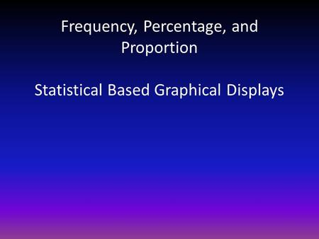 Frequency, Percentage, and Proportion Statistical Based Graphical Displays.