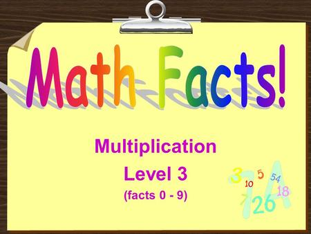 Multiplication Level 3 (facts 0 - 9) Read These Instructions:  Try to get the answer before the computer puts it on the screen.  Do not click on your.