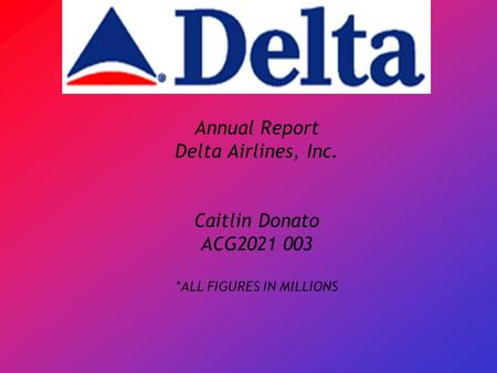 Annual Report Delta Airlines, Inc. Caitlin Donato ACG2021 003 *ALL FIGURES IN MILLIONS.