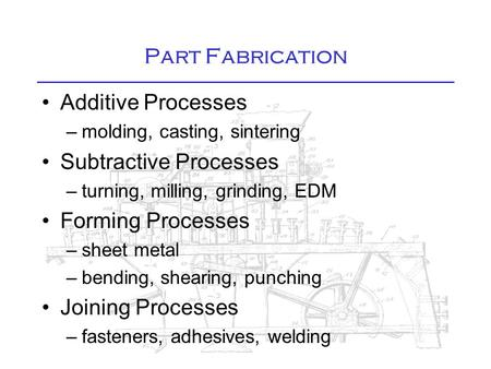 Part Fabrication Additive Processes –molding, casting, sintering Subtractive Processes –turning, milling, grinding, EDM Forming Processes –sheet metal.
