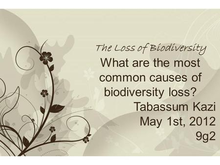 Free Powerpoint TemplatesPage 1Free Powerpoint Templates The Loss of Biodiversity What are the most common causes of biodiversity loss? Tabassum Kazi May.