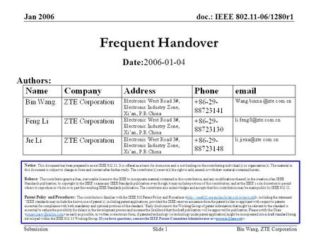 Doc.: IEEE 802.11-06/1280r1 Submission Jan 2006 Bin Wang, ZTE CorporationSlide 1 Frequent Handover Notice: This document has been prepared to assist IEEE.