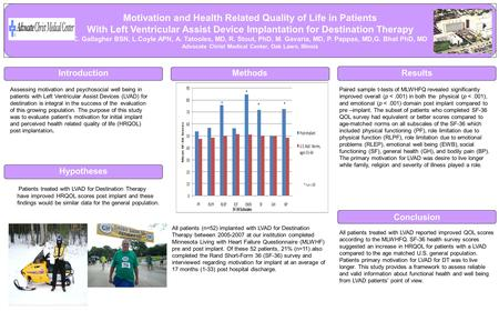 Conclusion Motivation and Health Related Quality of Life in Patients With Left Ventricular Assist Device Implantation for Destination Therapy C. Gallagher.