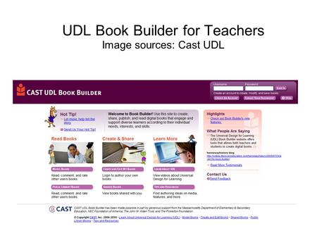 UDL Book Builder for Teachers Image sources: Cast UDL.