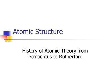 History of Atomic Theory from Democritus to Rutherford