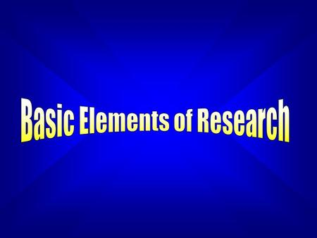 Learning Objectives In this chapter you will learn about the elements of the research process some basic research designs program evaluation the justification.