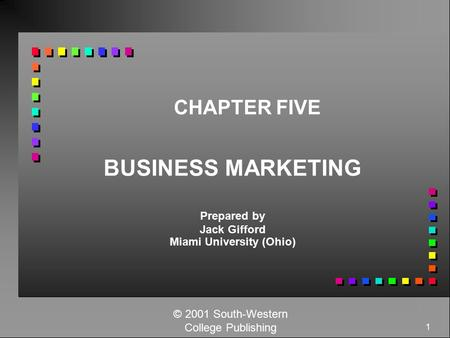 1 CHAPTER FIVE BUSINESS MARKETING Prepared by Jack Gifford Miami University (Ohio) © 2001 South-Western College Publishing.