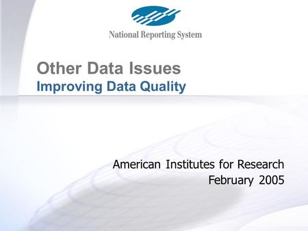 Other Data Issues Improving Data Quality American Institutes for Research February 2005.