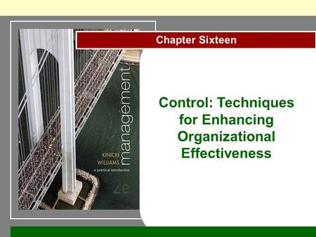 Chapter Sixteen Control: Techniques for Enhancing Organizational Effectiveness.