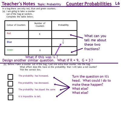 Counter Probabilities Teacher's Notes Topic: Probability
