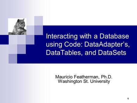 1 Interacting with a Database using Code: DataAdapter's, DataTables, and DataSets Mauricio Featherman, Ph.D. Washington St. University.
