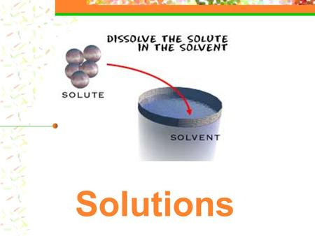 Solutions. Definitions: solutions A solution is a HOMOGENEOUS mixture of 2 or more substances mixed evenly at molecular level.. One part is regarded as.