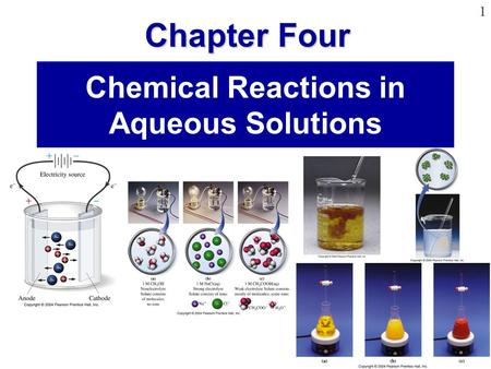 Chapter Four 1 Chemical Reactions in Aqueous Solutions Chapter Four.