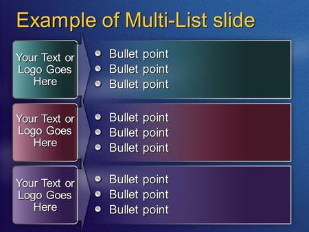 Example of Multi-List slide Bullet point Your Text or Logo Goes Here Bullet point.