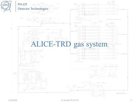 ALICE-TRD gas system 1/4/2015R. Guida PH-DT-DI1. TRD gas system Few numbers:  Total number of modules/racks: 20 (max leak rate certified at construction.