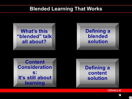 "Blended Learning That Works What's this ""blended"" talk all about? Content Consideration s: It's still about learning Defining a blended solution Defining."