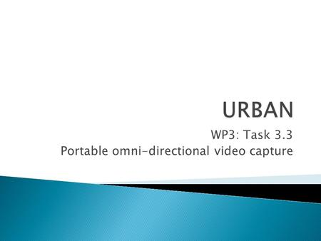 WP3: Task 3.3 Portable omni-directional video capture.
