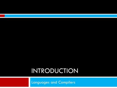 Languages and Compilers