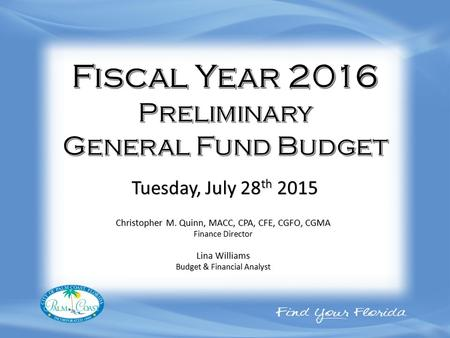 Christopher M. Quinn, MACC, CPA, CFE, CGFO, CGMA Finance Director Lina Williams Budget & Financial Analyst Tuesday, July 28 th 2015.