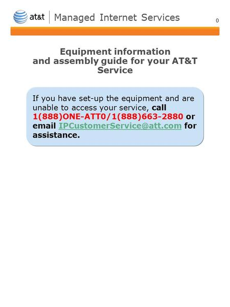 0 If you have set-up the equipment and are unable to access your service, call 1(888)ONE-ATT0/1(888)663-2880 or  for