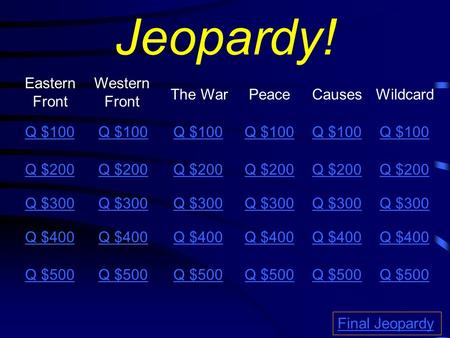 Jeopardy! Eastern Front Western Front The WarPeace Causes Q $100 Q $200 Q $300 Q $400 Q $500 Q $100 Q $200 Q $300 Q $400 Q $500 Final Jeopardy Wildcard.