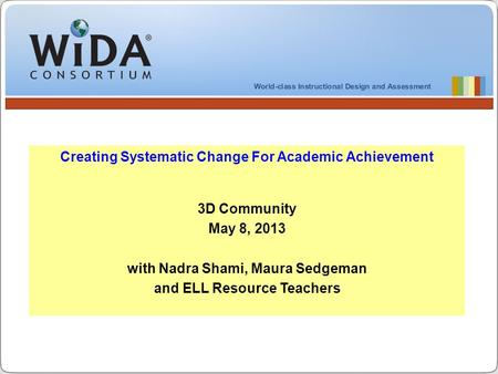 Creating Systematic Change For Academic Achievement 3D Community May 8, 2013 with Nadra Shami, Maura Sedgeman and ELL Resource Teachers.