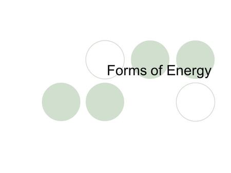 Forms of Energy. Mechanical Thermal Chemical Electrical Electromagnetic Nuclear Energy can be transferred, or converted, from one form to another!