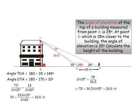 25 o 15 m A D The angle of elevation of the top of a building measured from point A is 25 o. At point D which is 15m closer to the building, the angle.