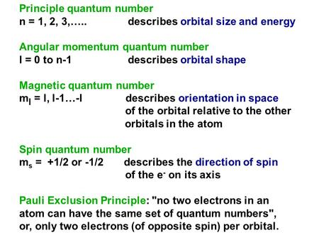 Principle quantum number n = 1, 2, 3,….. describes orbital size and energy Angular momentum quantum number l = 0 to n-1 describes orbital shape Magnetic.