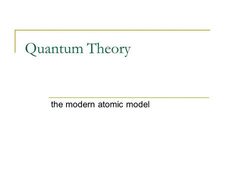 Quantum Theory the modern atomic model. Bohr Model of the Atom a quantum model proposed by Niels Bohr in 1913 It helped to explain why the atomic emission.