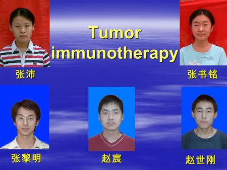 Tumor immunotherapy 张沛张书铭 张黎明 赵宸 赵世刚 Tumour Immunotherapy: questions Can immune stimulators combat cancer? Which forms of immunotherapy can be used?