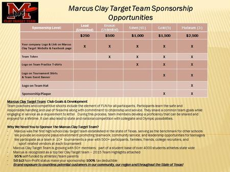 Marcus Clay Target Team: Club Goals & Development: Team practices and competitive shoots include the element of FUN for all participants. Participants.